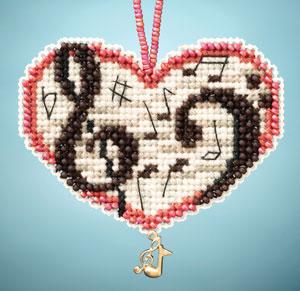 Love Notes I LOVE charmed ornaments 2013 beaded ornament kit Mill Hill