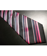 Tucci Firenze Neck Tie Silk Stripes Glossy Pink Black Red Stripes Made i... - $12.99