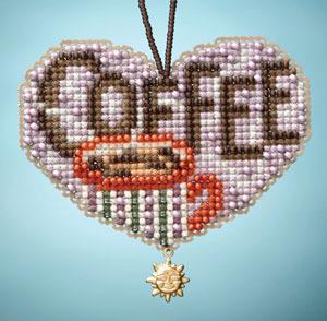 Love Coffee I LOVE charmed ornaments 2013 beaded ornament kit Mill Hill