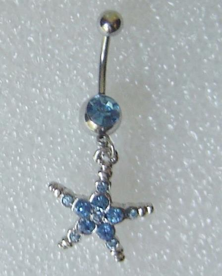 Blue Crystal Belly Button Ring Starfish Dangle Star