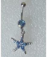 Blue Crystal Belly Button Ring Starfish Dangle Star - $5.00