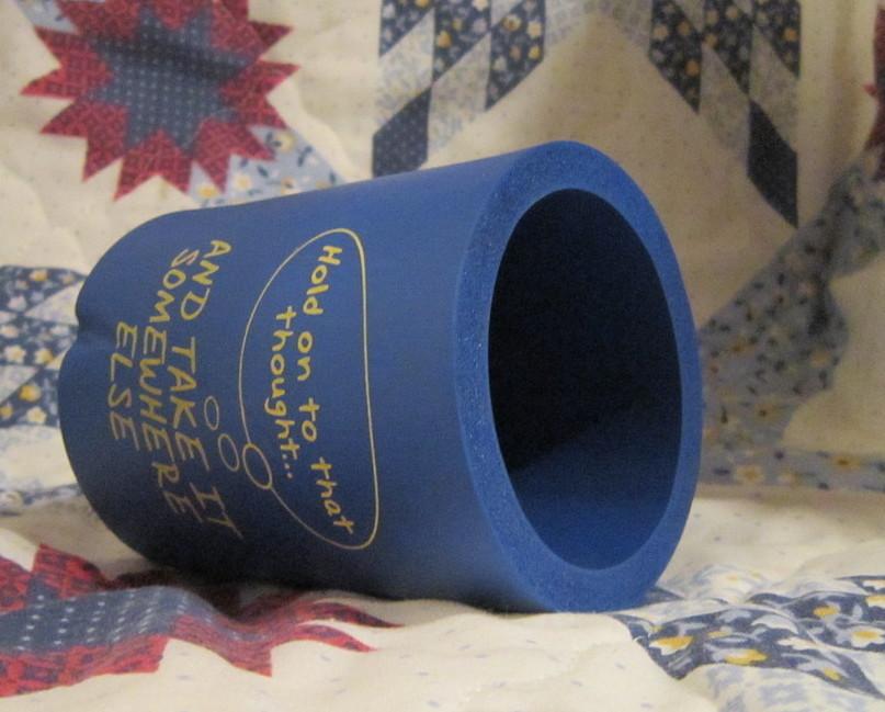 Blue Smart Alec Foam Holder for Cold Canned Beverages