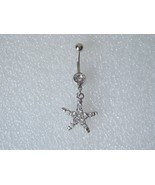 Crystal Belly Button Ring Starfish Dangle Star - $5.00