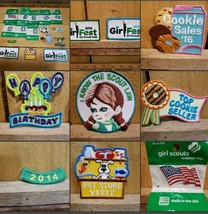 Lot of 16  Girl Scouts Brownie Juniors Badges Flag Numbers Girl Fest Pat... - $20.98