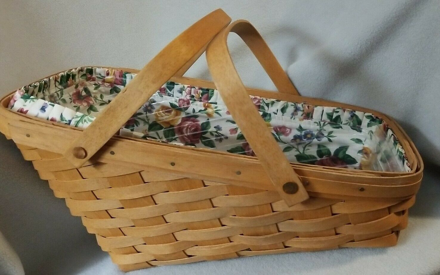 Primary image for 1995 Signed Longaberger All American Slanted Basket Double Handles Floral Liner