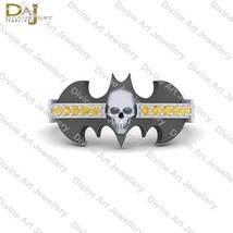 0.15CTTW Yellow Diamond Bat Logo Skull Ring Gothic Skull Wedding Ring Ha... - $73.59+