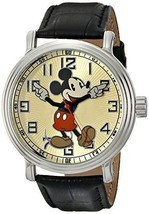 Disney Men's 56109 Vintage Mickey Mouse Watch with Black Leather Band NIB - $55.43