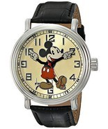 Disney Men's 56109 Vintage Mickey Mouse Watch with Black Leather Band NIB - €51,31 EUR