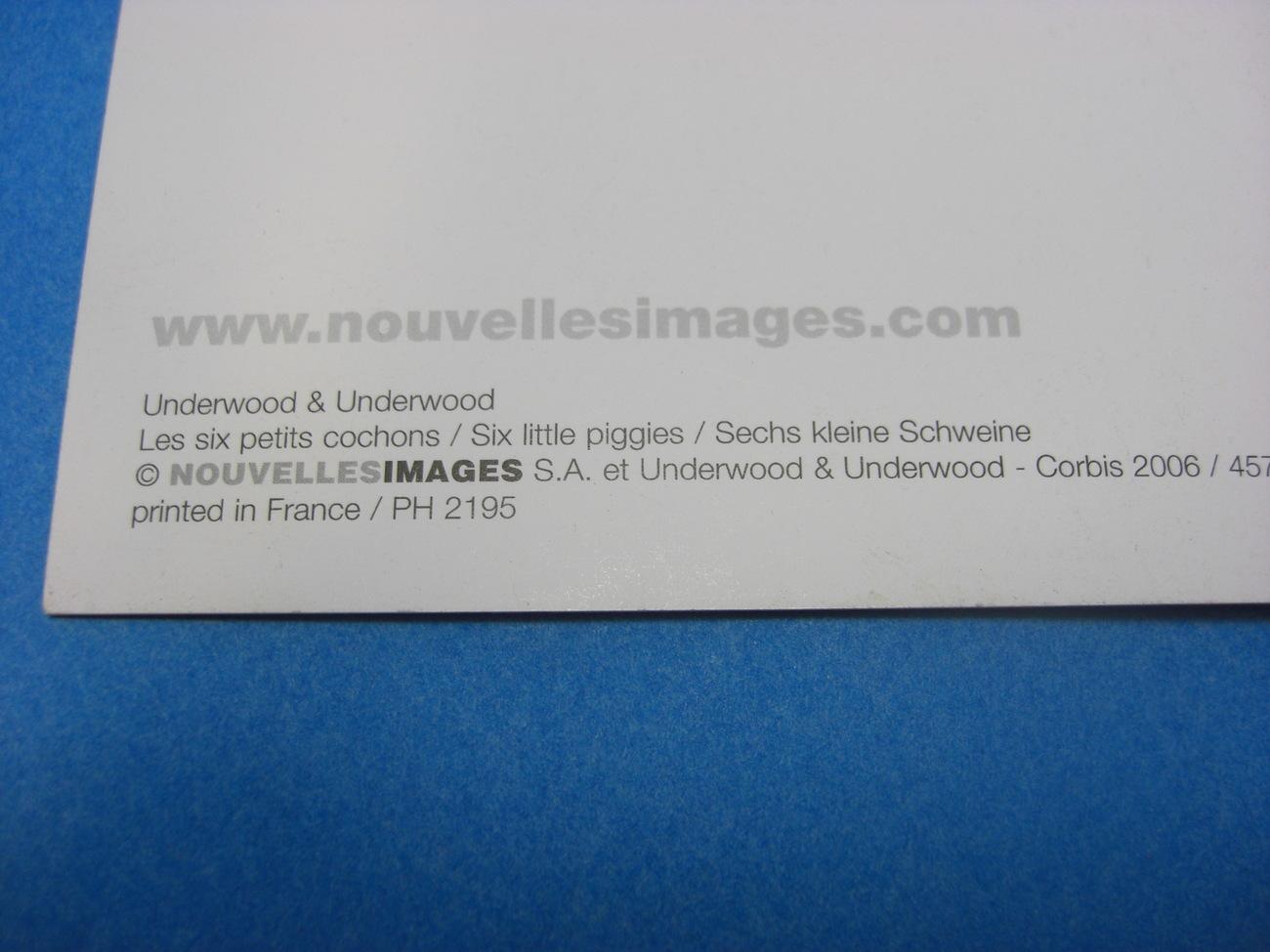 Nouvelles Images SIX LITTLE PIGGIES Postcard by Underwood