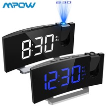 MPOW LED FM Projection 2 Alarms Clock Multifunctional 5 inch Curved Scre... - $47.10