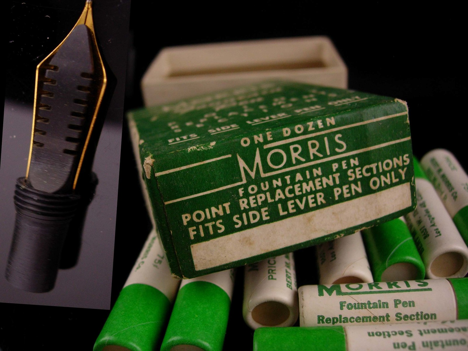 12 vintage morris Fountain pen nibs - original box -  gold replacement - calligr