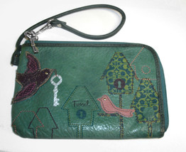 Fossil Leather Wristlet Birdhouses Green Applique Corner Zip Card Wallet... - $23.00