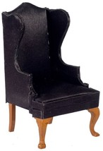 DOLLHOUSE MINIATURES WALNUT AND BLACK WING CHAIR #T6827 - $19.79