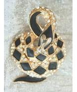 Dramatic Rhinestone Black Enamel Golden Snake Brooch 1960s vintage - $29.65