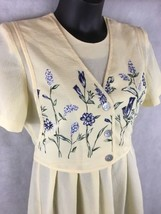 Miss Dorby Petites Yellow Floral Spring Midi Dress Sz 12P  Attached Half... - $15.79