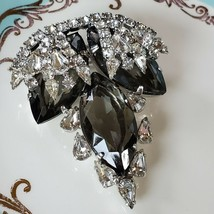 Vintage Brooch With Huge Smokey Marquise cut Stones - $31.68