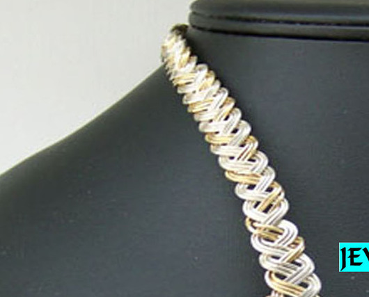Jewelry By Two Gems (Wn32)14Kt Gold Filled and Sterling Silver Braided Torque