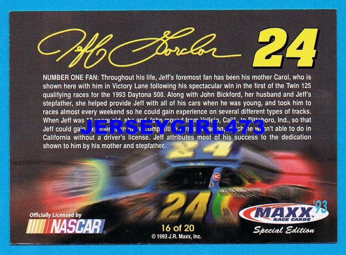 Jeff Gordon w/ mom 1993 MAXX Special Edition Number One Fan NASCAR Card #16