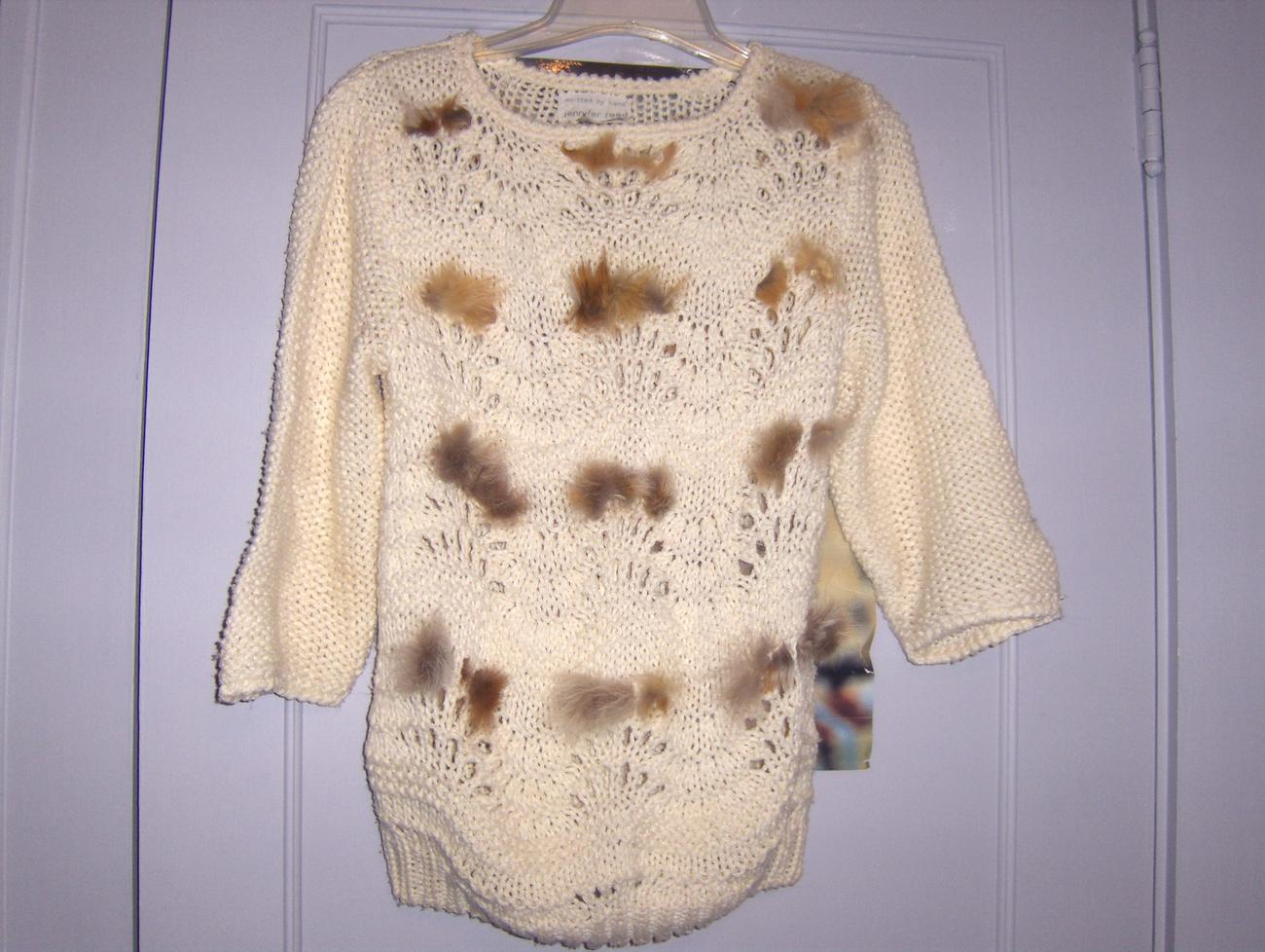 Vintage Hand Knitted Sweater with Rabbit Fur Accents