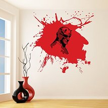 (87'' x 84'') Vinyl Wall Decal Scary Devil Mask Hero with Horns / Bloody Face in - $202.17