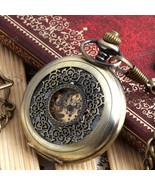 NEW Antique Vintage Men Bronze Skeleton Mechanical Pendant Pocket Watch Gift#6 - $13.25