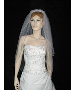 2T White Bridal Elbow Length Pearl Accents Wedding Veil v01e - $18.99