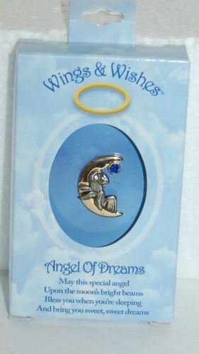 DM Merchandising Wings Wishes Dream Angel Gold Colored Moon Blue Stone