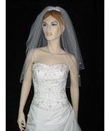2 Tier White Elbow Rhinestone Accents Bridal Wedding Veil v5 - $15.99