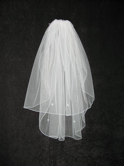 2 Tier White Elbow Rhinestone Accents Bridal Wedding Veil v5