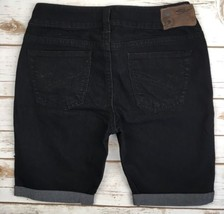 Silver J EAN S Shorts Mid Rise Suki Black Denim Cuffed Stretch Jean Shorts 28 - $17.85