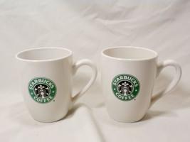 Set of 2008 Starbucks White Coffee Mugs Original Green Black Mermaid Siren Logo - $17.64