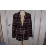 White Stag Womens Purple,Cream and Green Plaid Wool Blazer Size 12 - $27.00