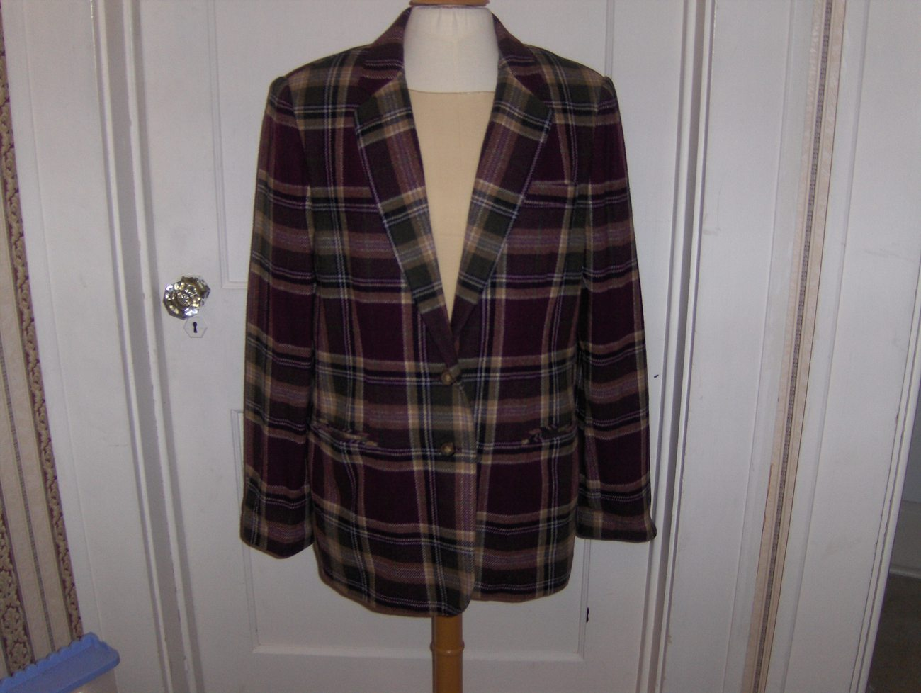 White Stag Womens Purple,Cream and Green Plaid Wool Blazer Size 12