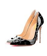 YCG Women's High Heels Pumps Music Note Printing Slip on Shoes US 6 Blac... - $55.11