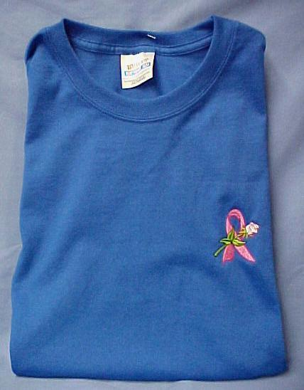 Breast Cancer Pink Ribbon Rose Blue S/S T-Shirt 2X New