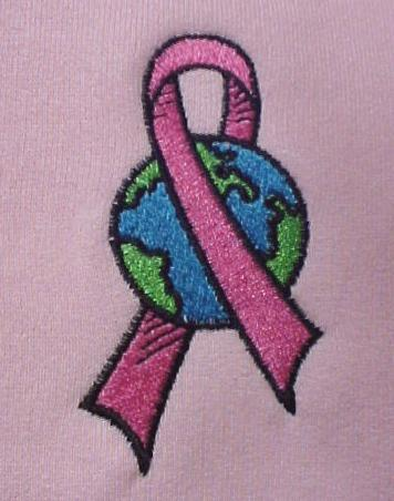 Pink Ribbon World T Shirt S L/S Crew Neck Breast Cancer Awareness Unisex New
