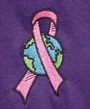 Breast Cancer T Shirt XL Pink Awareness Ribbon World Purple 100% Cotton Brand - $23.49