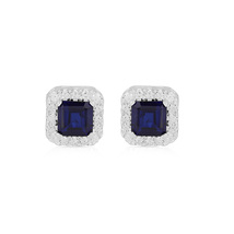 Blue Crystal Earrings, Octagon Solitaire with Accent 925 Silver Studs fo... - $49.99