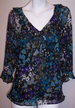 Dressbarn Top 6 Silky Feminine Ruffles Blouse With Attached Tank Shirt W... - $10.98