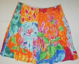 RALPH LAUREN SKIRT Pleated All Cotton 14 P Orange Yellow Green Red Pink ... - $11.55