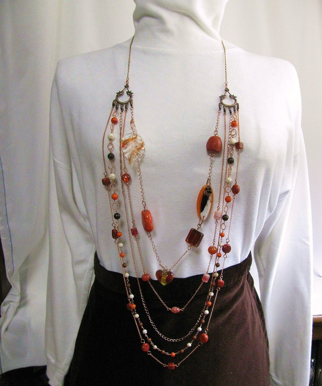 Fall Color Copper Multistrand Necklace RKMixables Copper Col