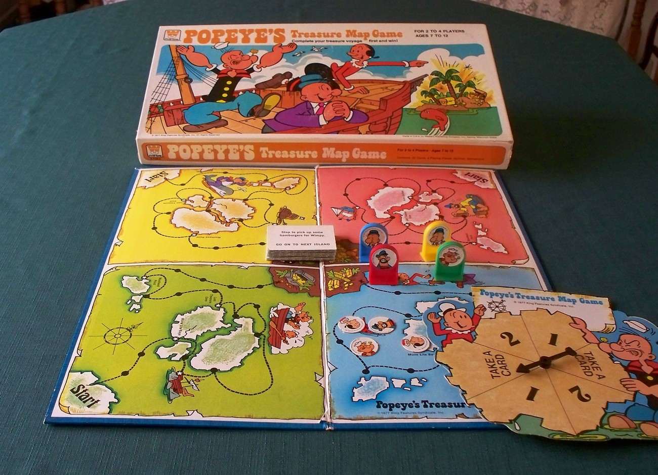 Popeye's Treasure Map Game by Whitman 1977 Complete