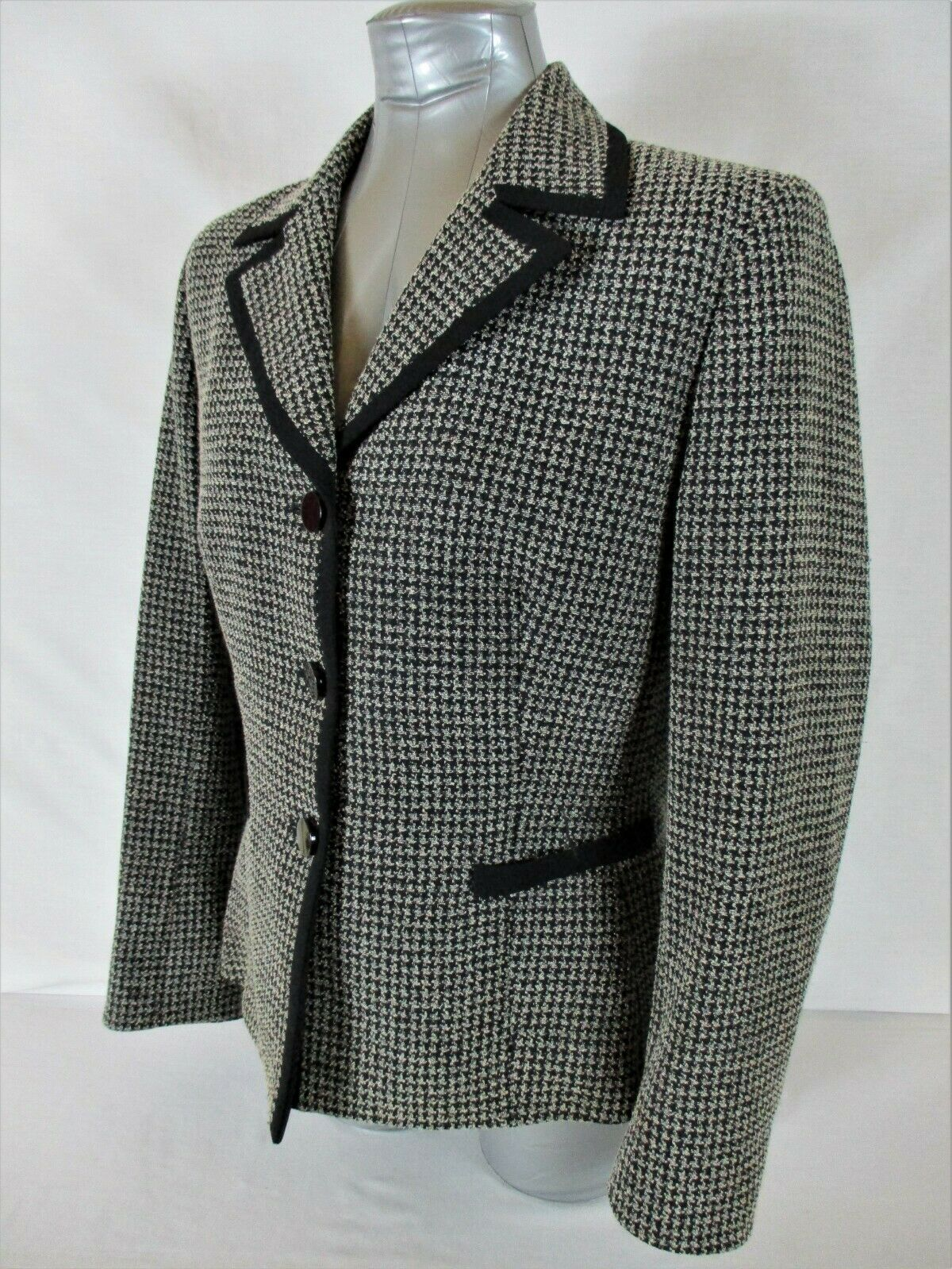 JONES STUDIO womens Sz 12 L/S black white FULLY LINED button down jacket (B4)