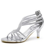 SheSole Women's Low Heel Dance Wedding Sandals Dress Shoes (9 M US|Silver) - $50.33