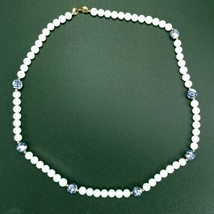 "Vintage Trifari Signed White Blue Beaded Necklace 23.75"" - $17.45"
