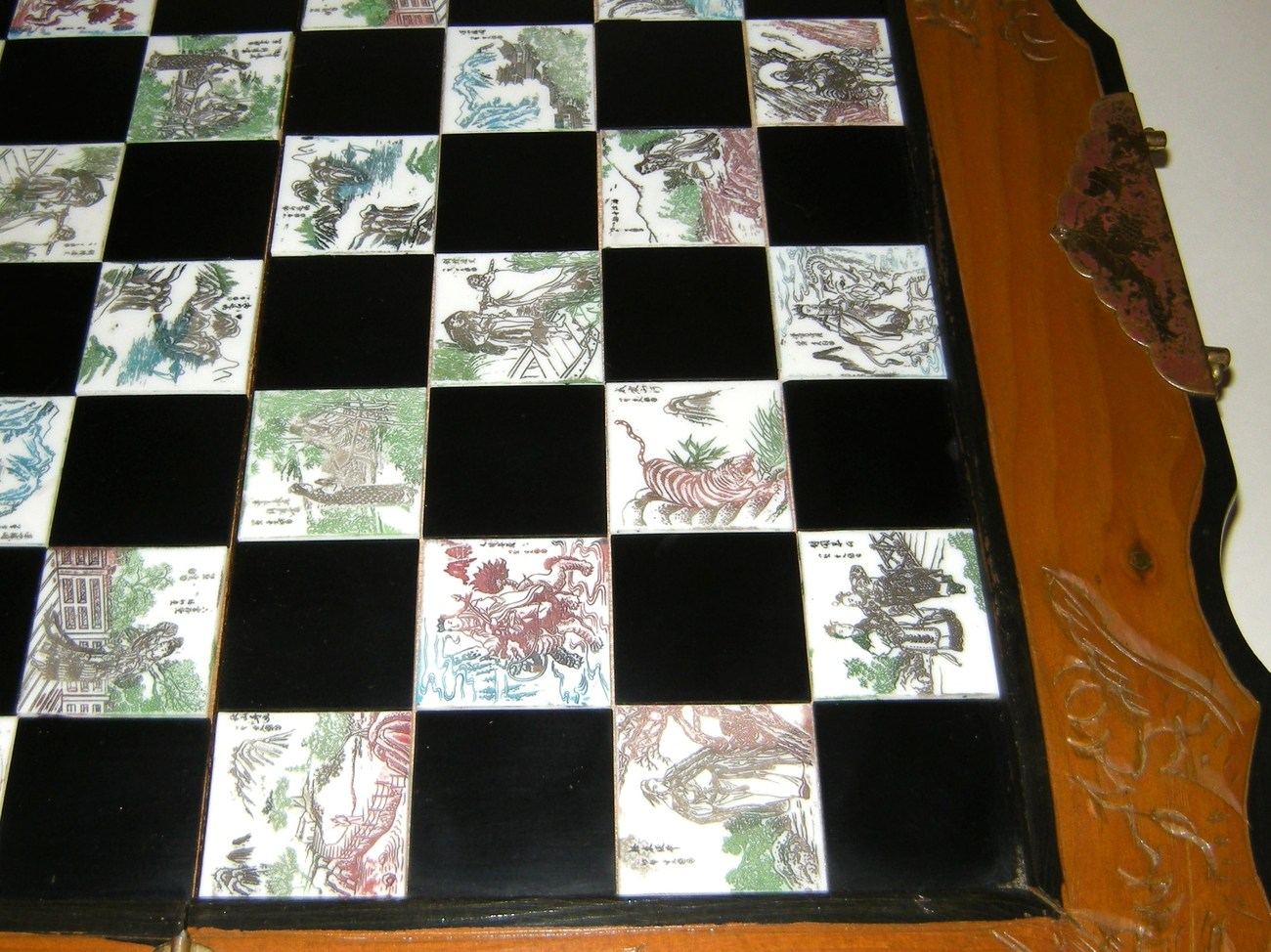 Vintage Wood Folding Chess Set Board Asian Oriental