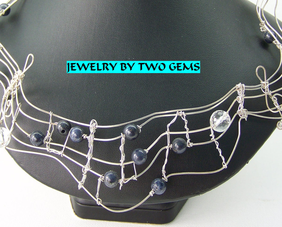 Jewelry By Two Gems (Wn88) Sterling Silver Wire Wrap Necklace w Sapphires