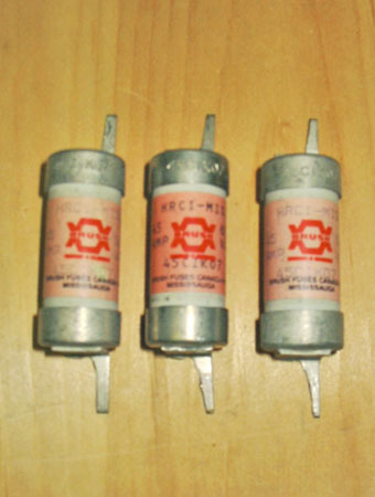 BRUSH 45CIK07 45 AMP 600 VAC HRC1 FAST ACTING BOLT-ON FUSES!
