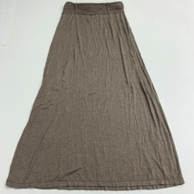 Max Studio Maxi Skirt Women's M Heather Tan Knit High Waist Pull On Rayo... - $17.99