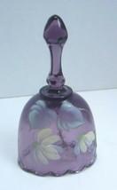 """Fenton Purple Bell Artist Signed Felicia Enoch 4.25"""" Flower Floral Oval - $17.75"""